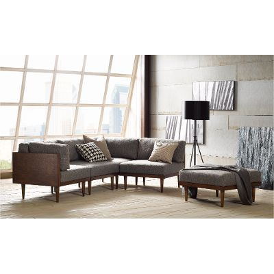 Popular 5PCSQRROLLINGOPT1 Ink Ivy Square Grey Upholstered 5 Piece Mid Century Sectional Top Design - Popular square sectional sofa Idea
