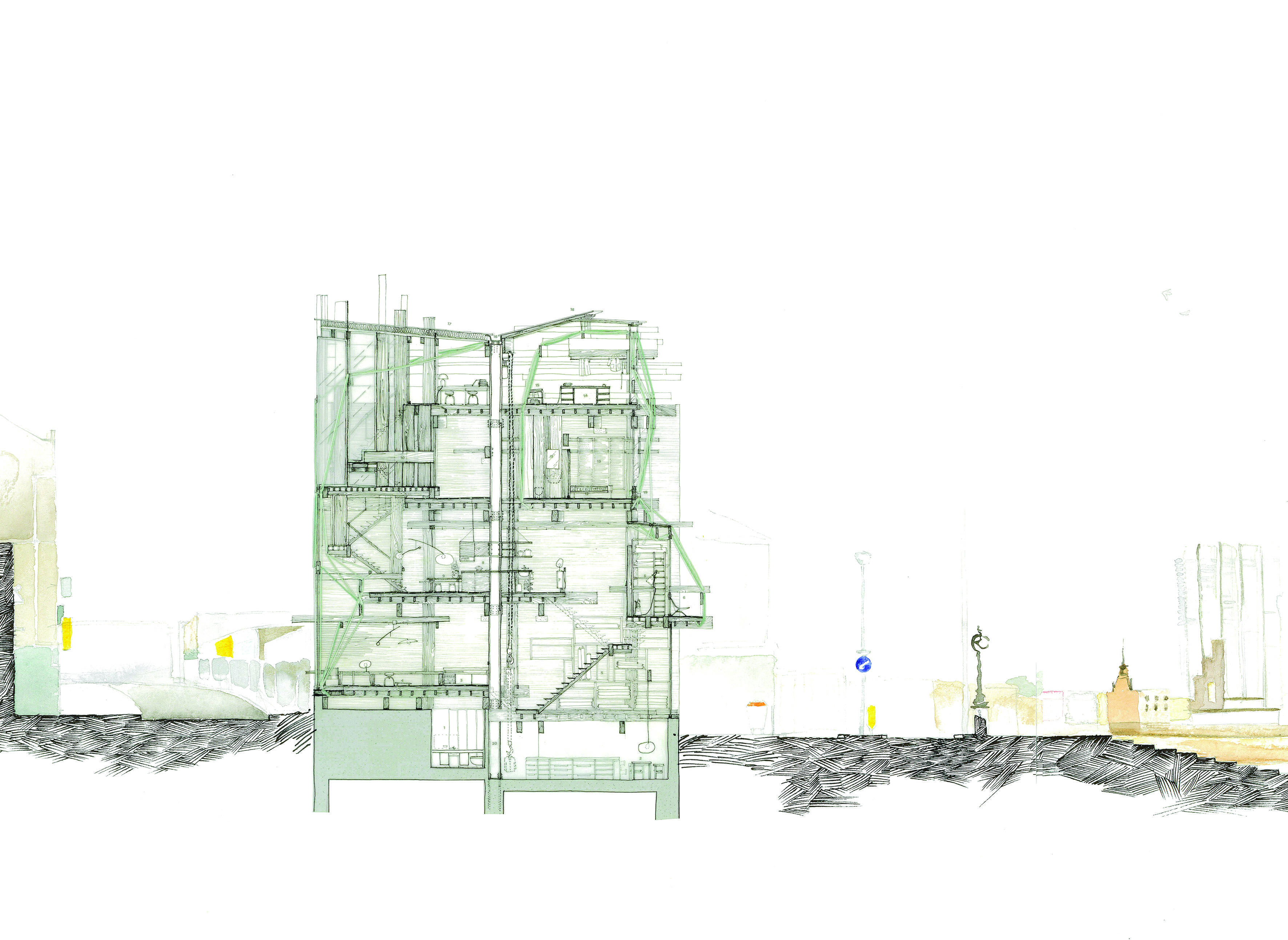 Bartlett school of architecture y1 14 yuanchu yi margate building section