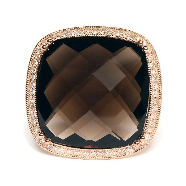 14K Rose Gold Cushion Smoky Quartz And Diamond Ring $989