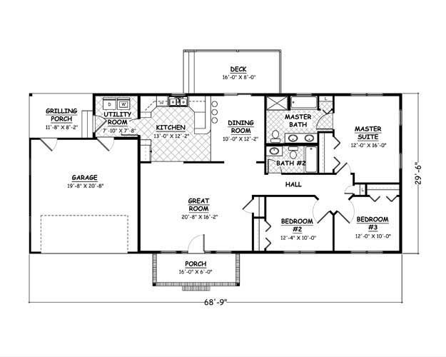 1508 Sf 69x30 3 2 2 1 Story Expansion Option For More People Small House Plans Free Free House Plans 1 Bedroom House Plans