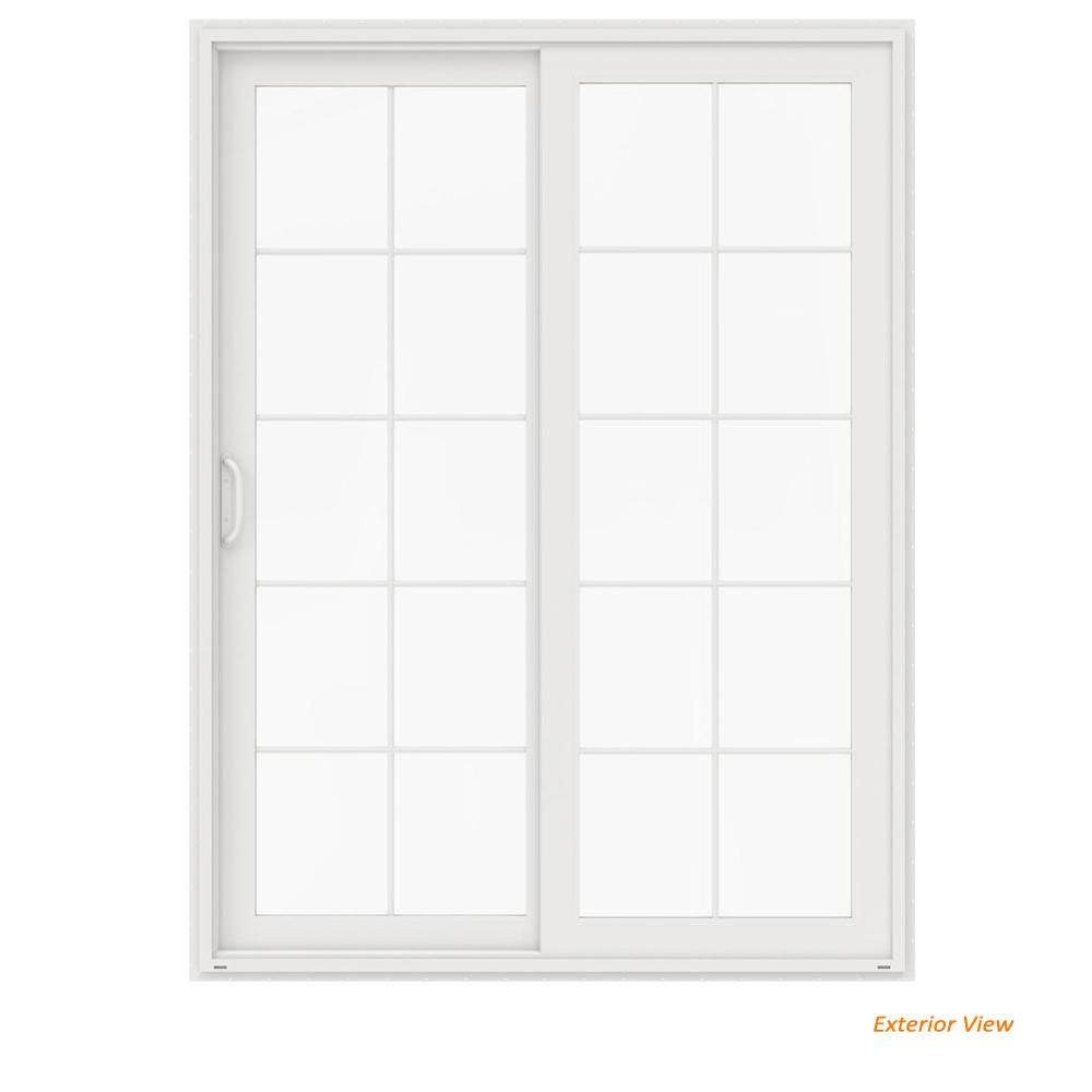 Jeld Wen 60 In X 80 In V 4500 White Vinyl Right Hand 10 Lite Sliding Patio Door Sliding Patio Doors Patio Doors Wood Exterior Door