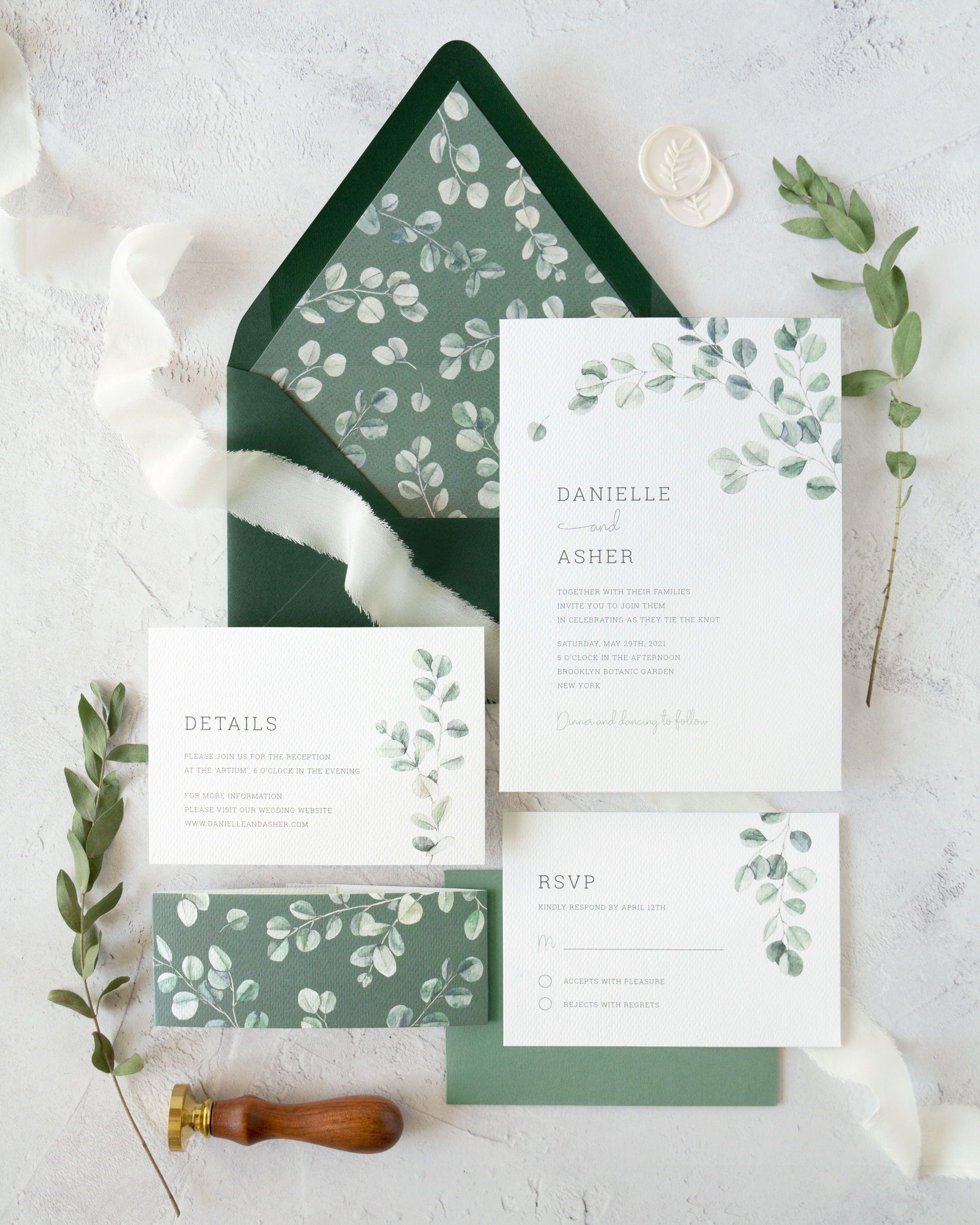 Eucalyptus wedding invitation suite diy watercolor