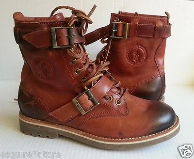 #POLO Ralph Lauren men size 8.5 M brown leather high boots MAURICE  RalphLauren visit our