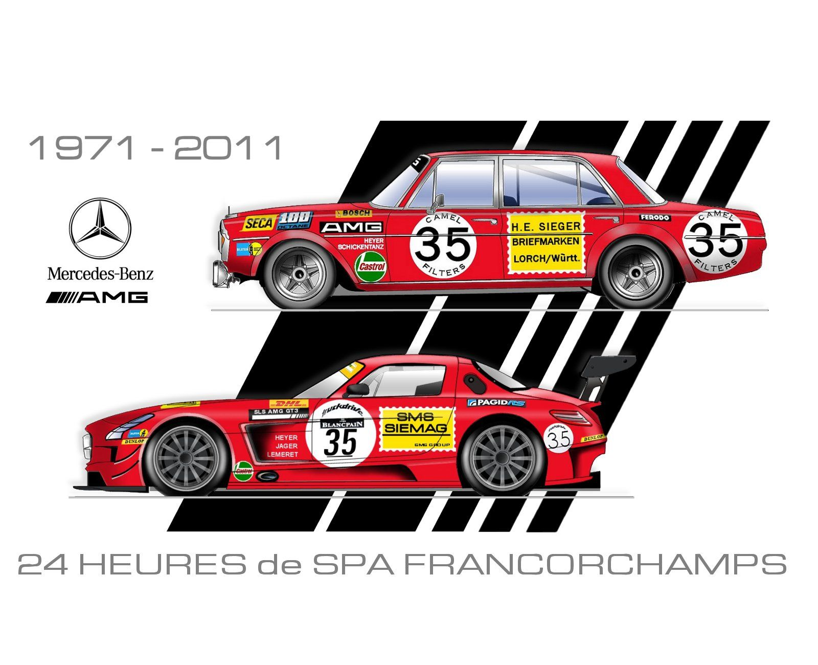 Mercedes Benz AMG poster 40 years Luxury Cars