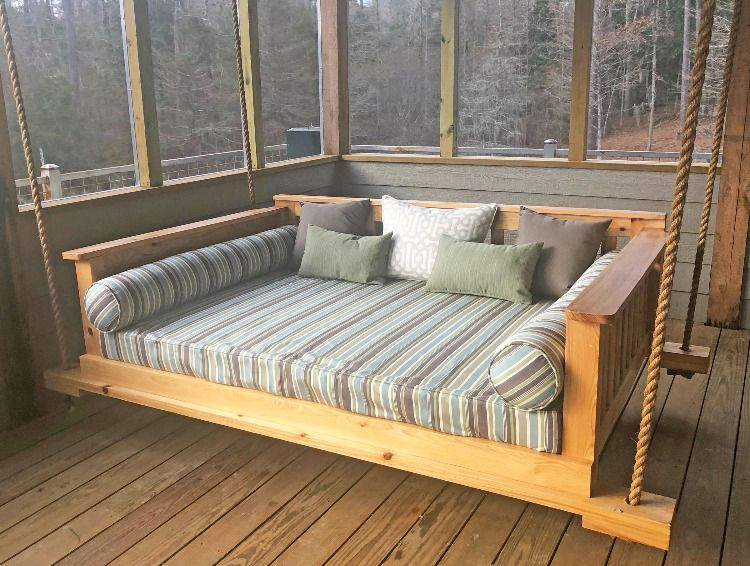 Rustic Porch Swing Bed Receives Sunbrella Cushion Enhancements Rustic Porch Swing Porch Swing Bed Swing