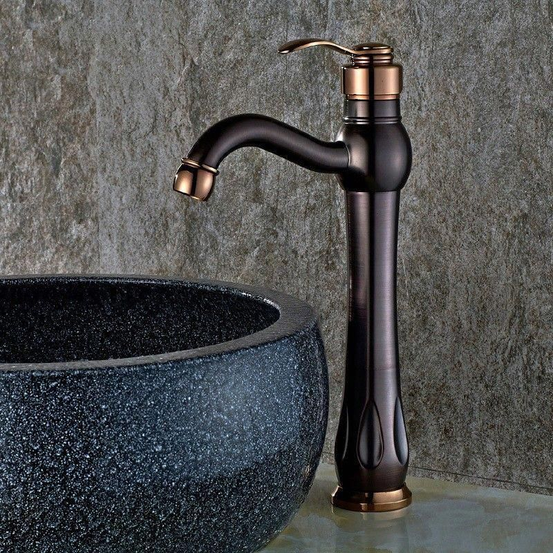 Inias Classic Single Handle One Hole Oil Rubbed Bronze Rose Gold