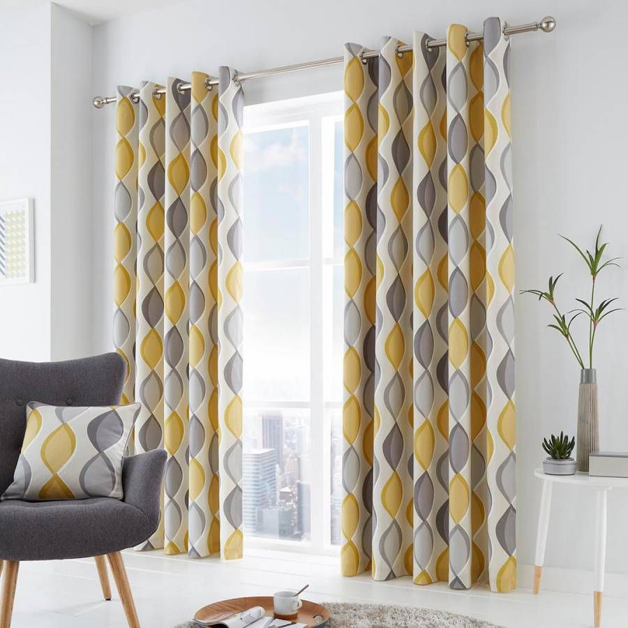 Fusion Lennox Grey Eyelet Curtains 229x229cm