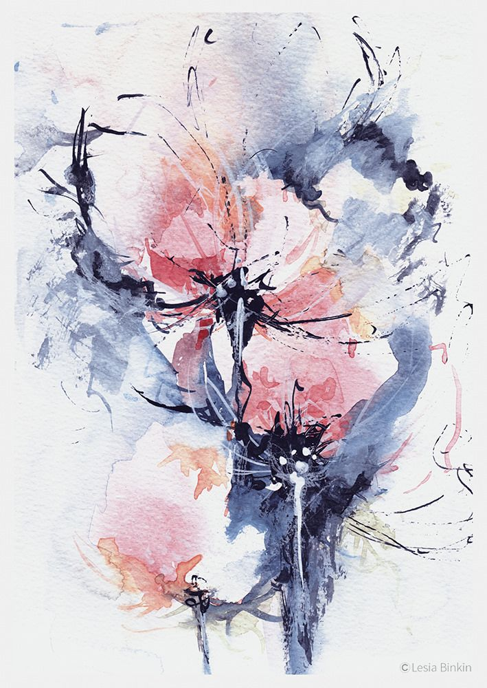Kunst Bilder Modern , Watercolor Abstract Painting 243