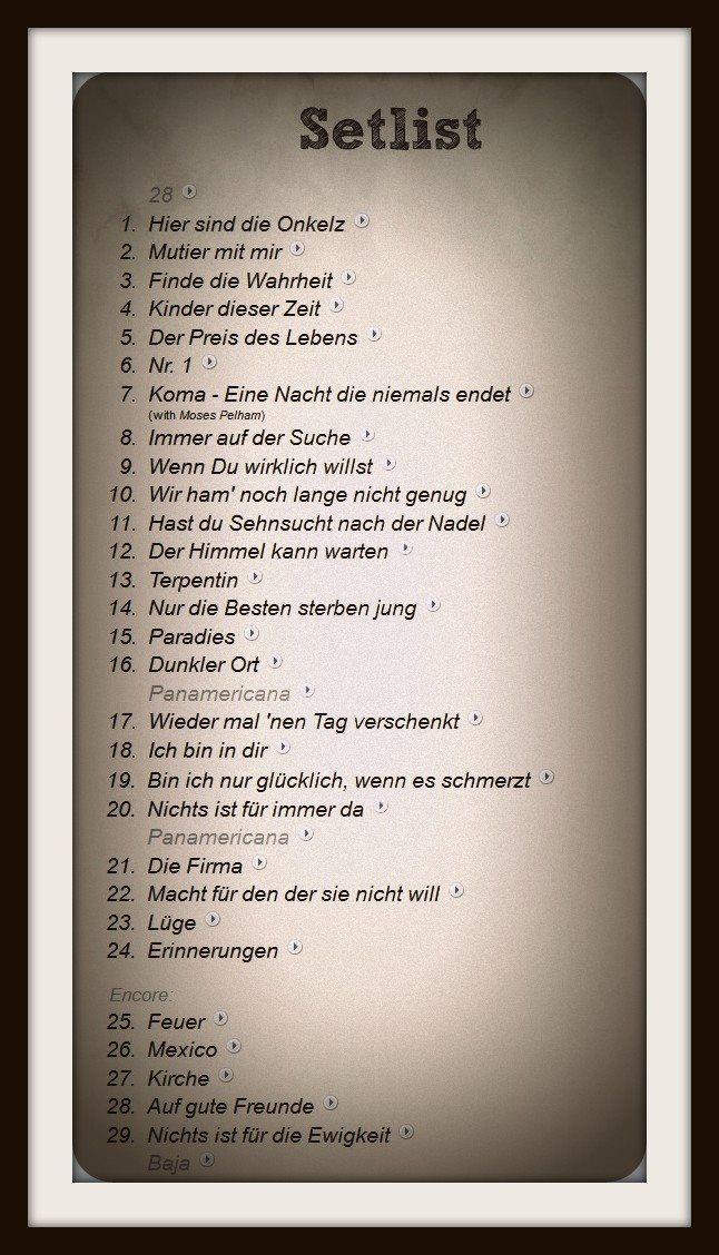 Setlist Hockenheim 2014 Onkelz My Music Music Und My Live