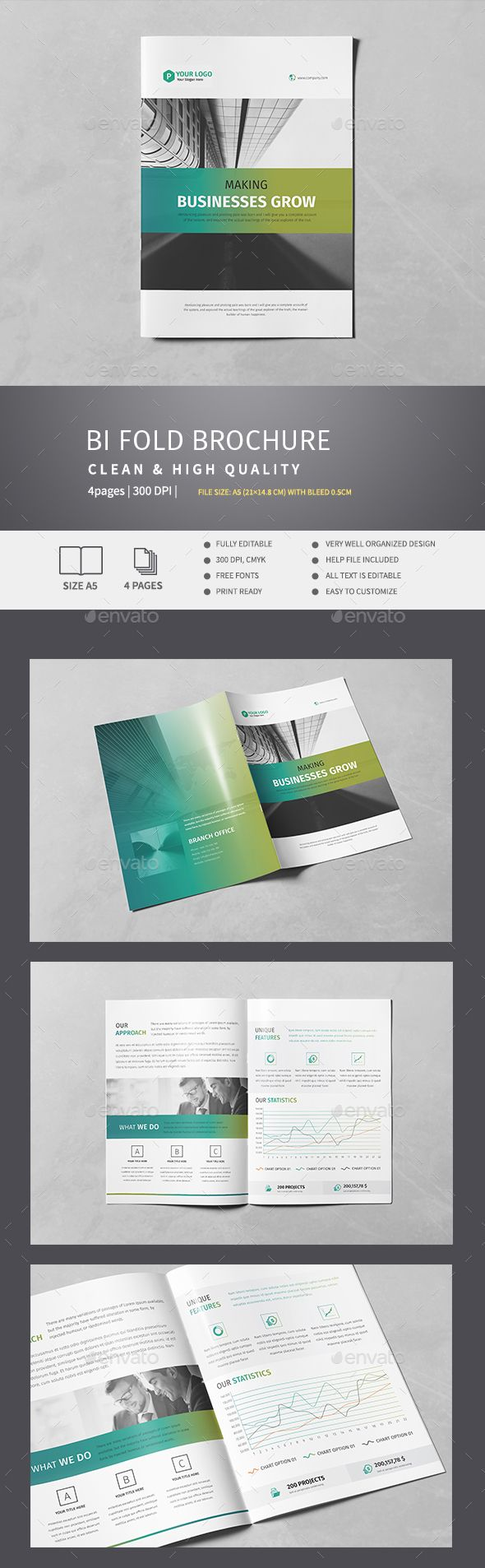 Corporate Bi Fold Brochure V2Features File Size A5 With Bleed 03 Mm Fully Editable300 Dpi CMYK Easy To Customize Note Phot
