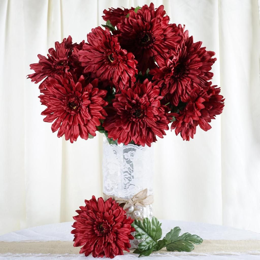 4 Bush 28 Pcs Burgundy Gerbera Daisy Artificial Flowers