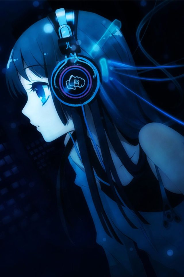 Girl Blue Headphones Music Wallpaper Background With Images