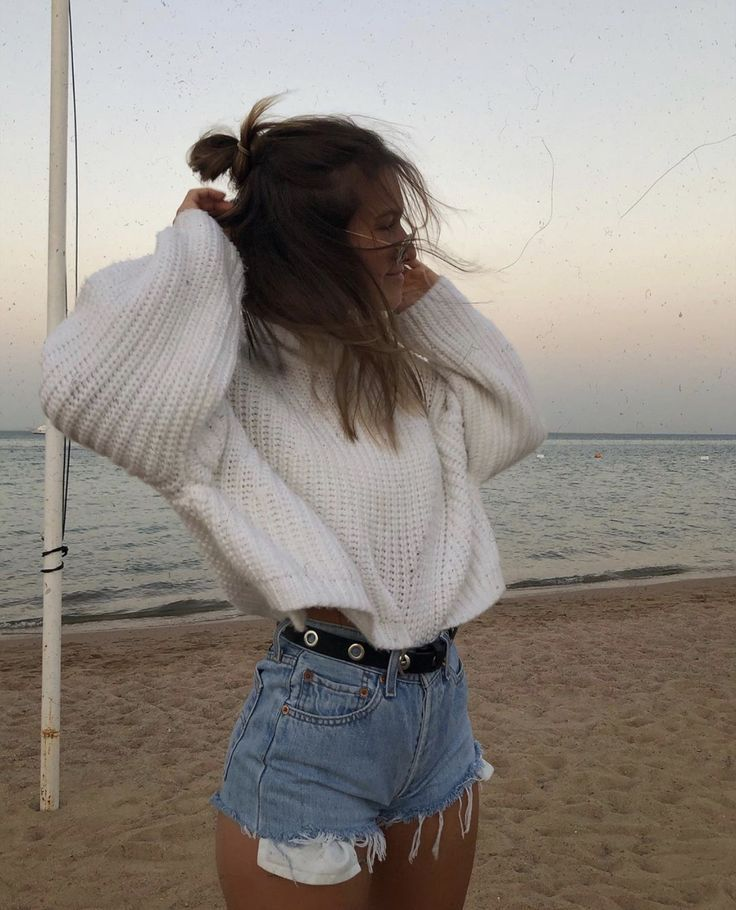 spring sweater and cut offs