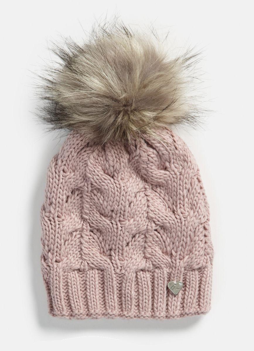 b357efe0e81 Купить Вязаная шапка с меховым помпоном (LH6P93) в интернет-магазине одежды  O