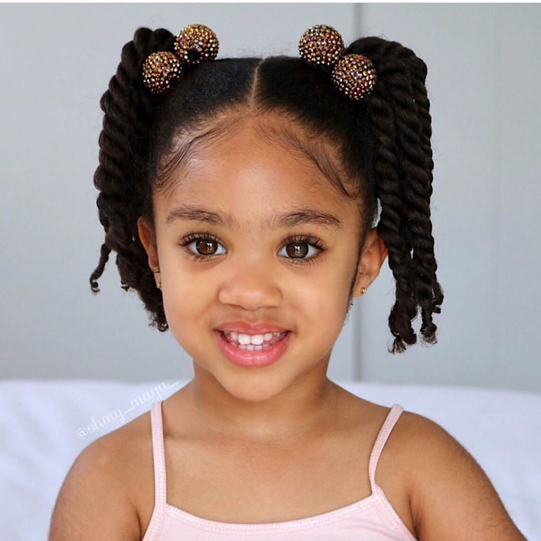 Beautiful Black Little Girl With Two Ponytails Kids Hairstyles Little Girl Hairstyles Black Little Girls