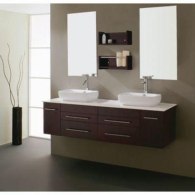 Virtu Augustine Double 58 7 Bathroom Vanity Set In Espresso Floating Bathroom Vanities Contemporary Bathroom Vanity Modern Bathroom Vanity