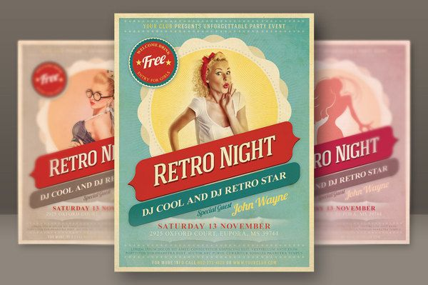 6 Retro Style Party Flyers by Peter Olexa, via Behance Pretty - retro flyer templates