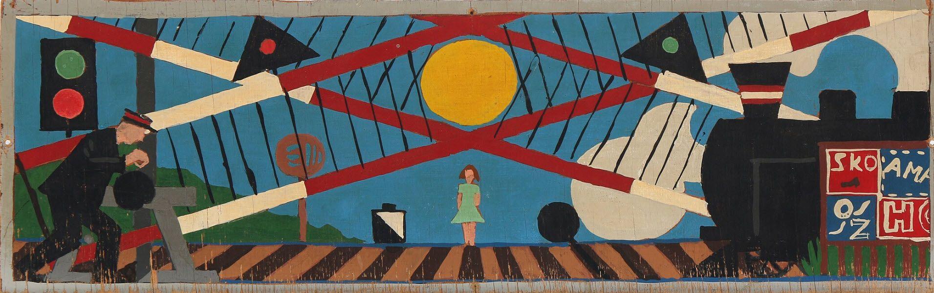 Sold Albert Mertz Flojtemand And Jernbanebomme Sketch For Decoration At Osterbro Station 1952 Unsigned Oil On Plate 14 X 44 Cm 2 Bruun Rasmussen