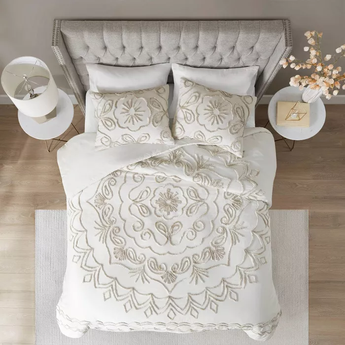 Full Queen Valeria Cotton Chenille Duvet Cover Set Ivory Taupe Comforter Sets Duvet Cover Sets Cotton Bedding Sets