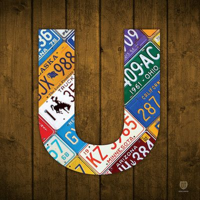 East Urban Home Recycled License Plate Letters of the Alphabet Series: U Textual Art on Wrapped Canvas Size: