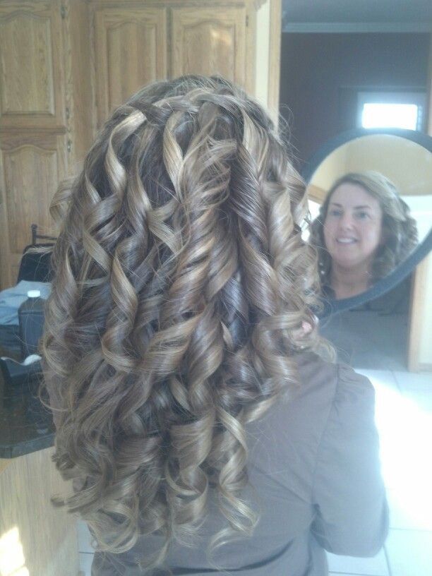 Wedding Day Waterfall Braid With Curls Braidless Sew In Extensions