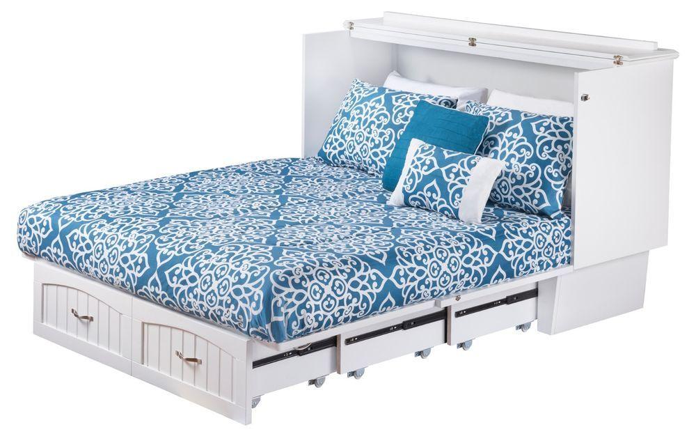 Atlantic Nantucket Queen Cabinet Murphy Bed In White Mattress Included Murphy Bed Ikea Murphy Bed Plans Murphy Bed