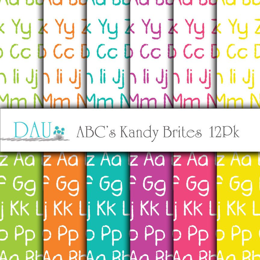 12 Pack Paper Digital Download ABC Kids Colors Green Orange Purple Blue Yellow 12 x 12 300Dpi  Birthday Party Favors Scrapbook Card Design - pinned by pin4etsy.com