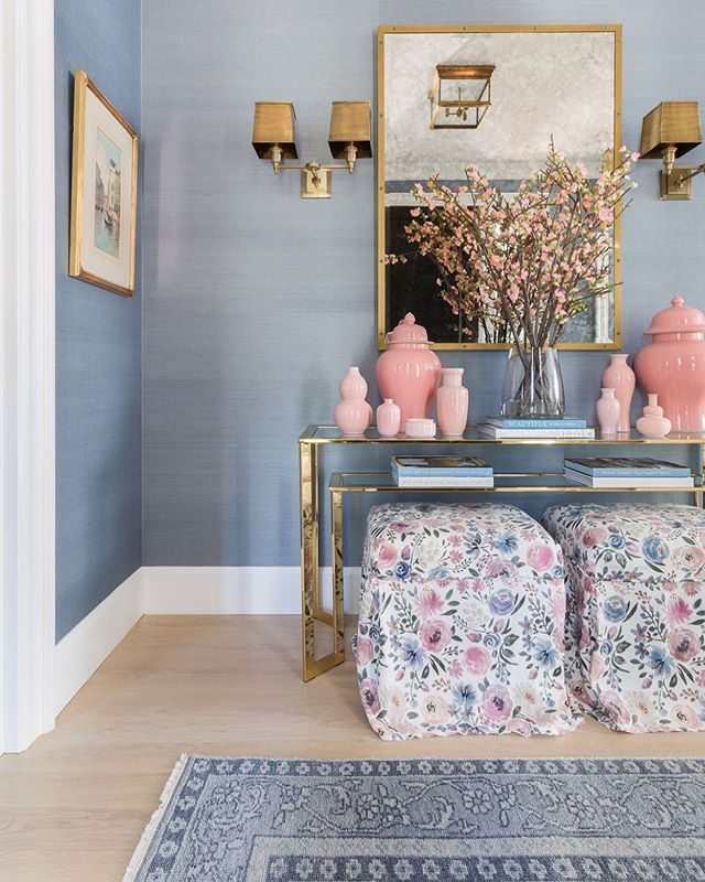 Nothing Makes An Entrance As Well As Grasscloth And Our Dusty Blue Adds The Perfect Neutral Shade For A Warm Welcome Home Living Room Home Decor House Interior Caitlin wilson grasscloth wallpaper