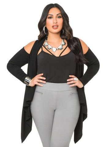 00b4dcf0058 Category Tops   Jackets   View All   Sweaters Give the cold shoulder in  this fresh plus size cardigan sweater. It features shoulder cut-outs and a  cascading ...