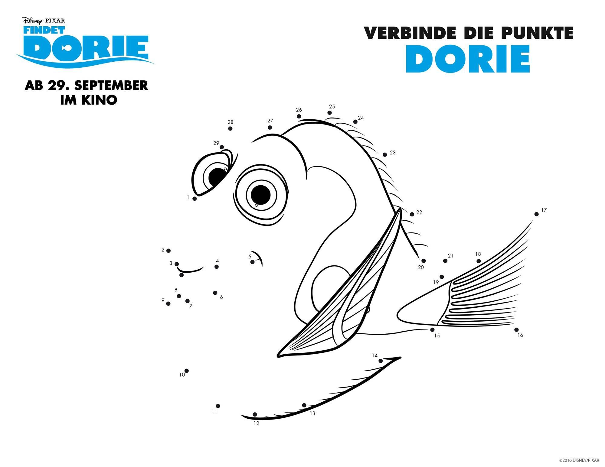 Ausmalbild Malen nach Zahlen: Findet Dorie: Dorie kostenlos