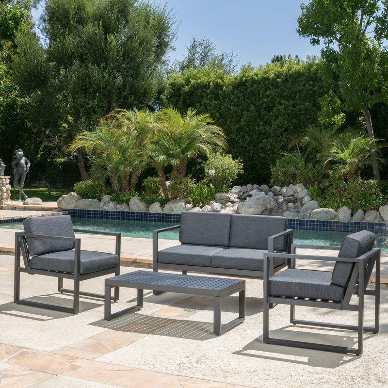 Mirando 4 Piece Sofa Seating Group With Cushions Outdoor Garden
