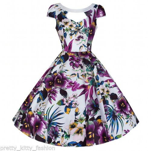 cbe7786b34 Details about PRETTY KITTY WHITE FLORAL CUT OUT PROM ROCKABILLY COCKTAIL SWING  DRESS 8-18