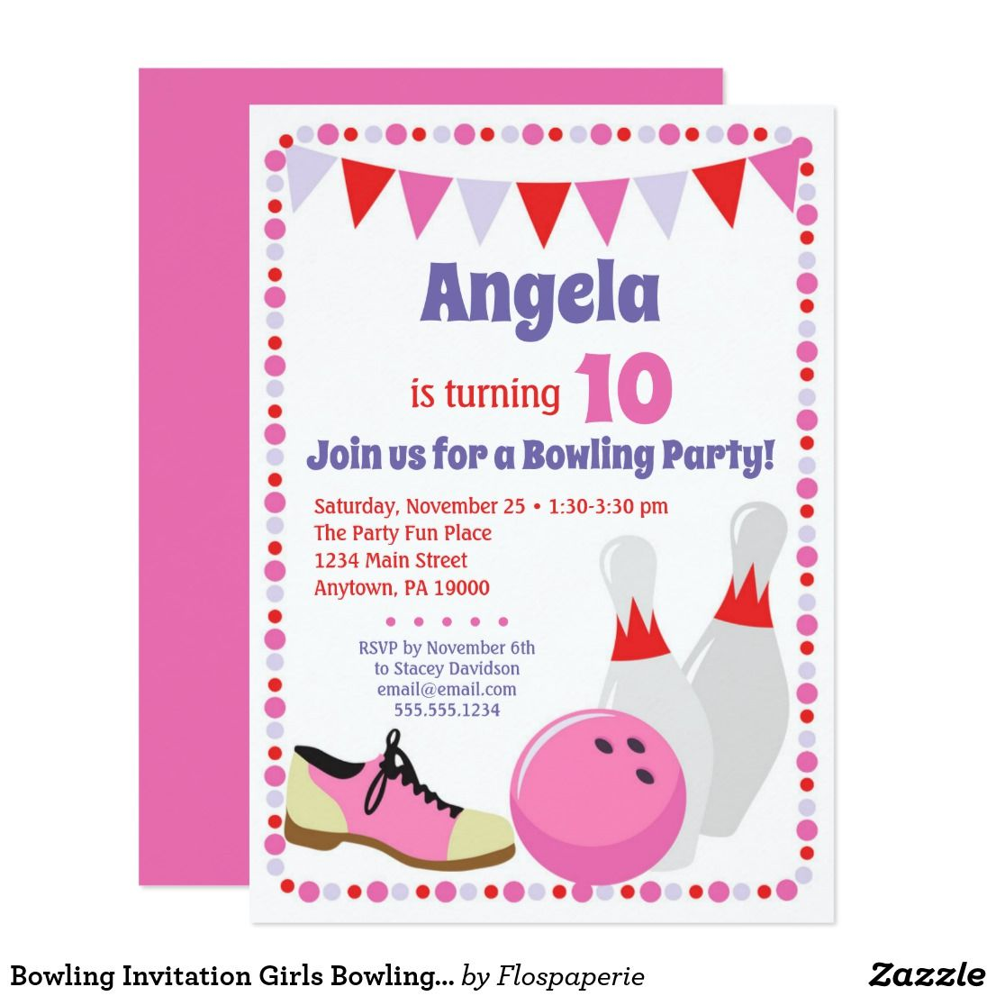 Bowling Invitation Girls Bowling Birthday Party