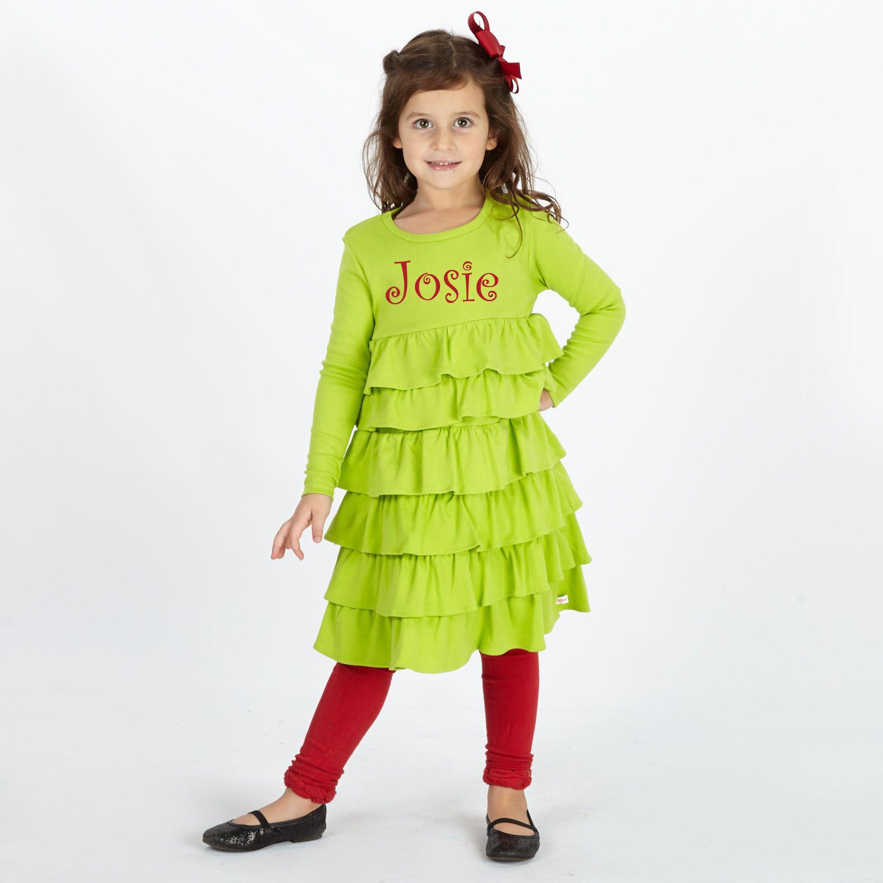 Lime Multi Ruffle Cotton Dress