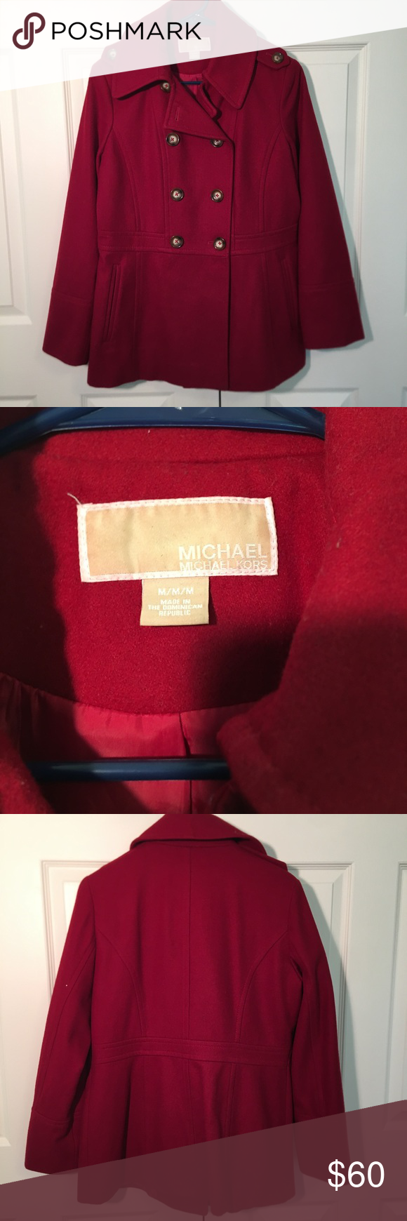 c6962ceb1d30 Red Michael Kors Wool Pea Coat This peacoat is beautifully tailored and  perfect for winter! Barely worn. I bundle