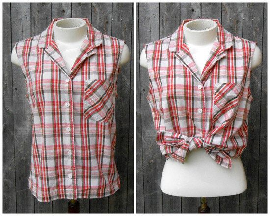 90s Vintage Sleeveless Plaid Shirt Grunge Top by ThingsRedeemed, $15.00