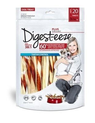 "DOG TREATS - RAWHIDE - DIGEST-EEZE PORK/BEEF TWISTS - 5"" 20CT - UPG-COMPANION ANML EDWRDSVILLE - UPC: 91093287102 - DEPT: DOG PRODUCTS"