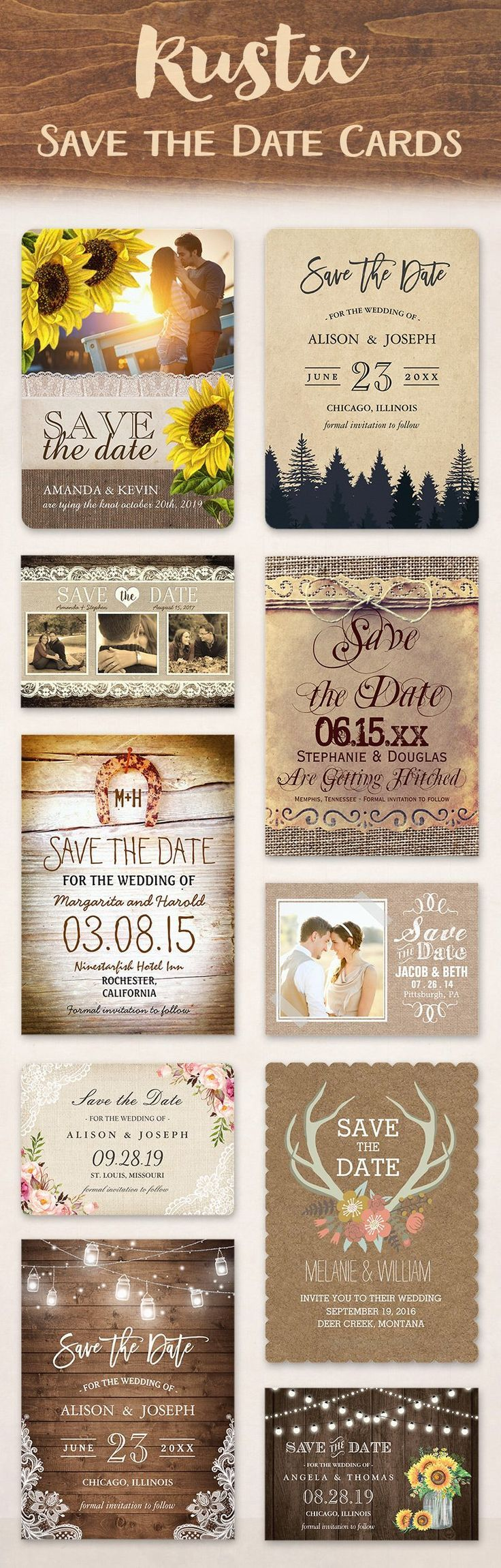 22 Best Save The Date Cards For Rustic Weddings Country Weddings