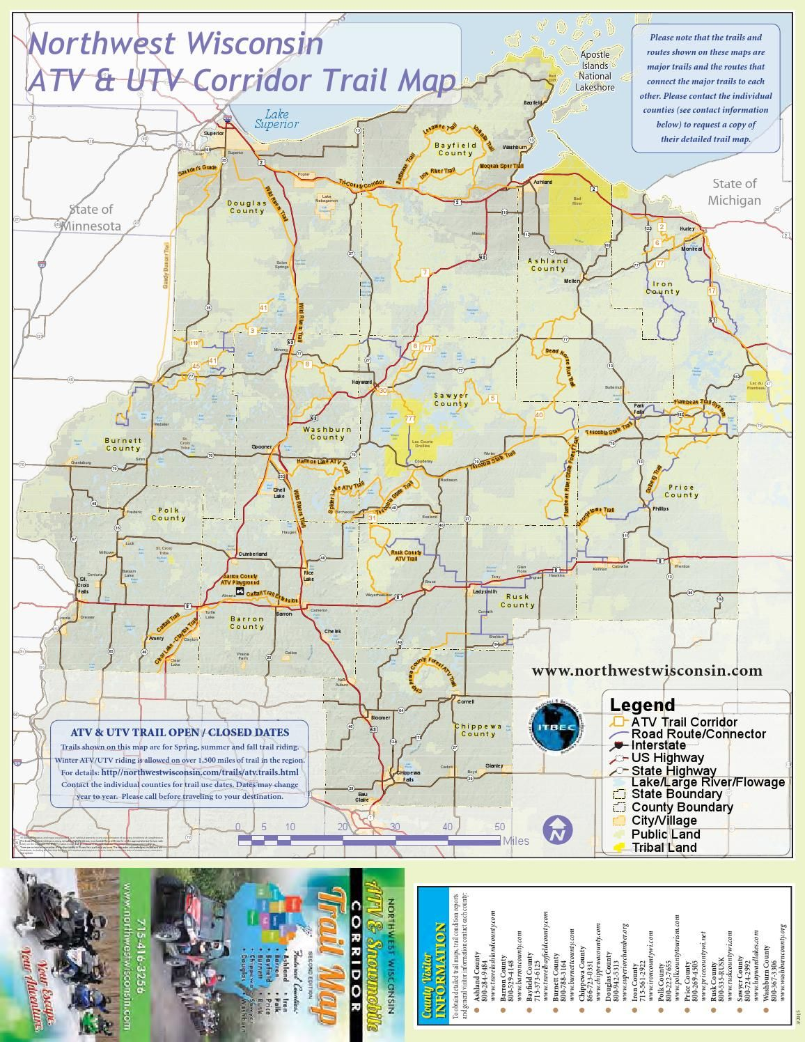 NW Wisconsin ATV & Snowmobile Corridor Map 4 Wheeling