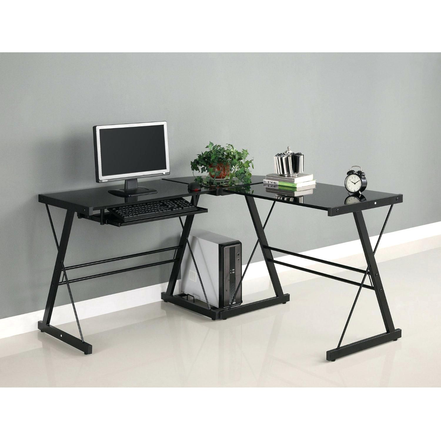 Black style Metal L Shaped Corner puter Desk with Glass Top