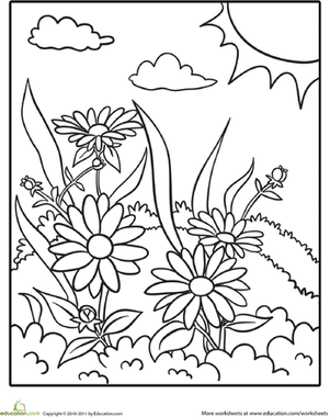 Daisy Coloring Page Nature Scenes Patterns And Crafts Nature Coloring Pages