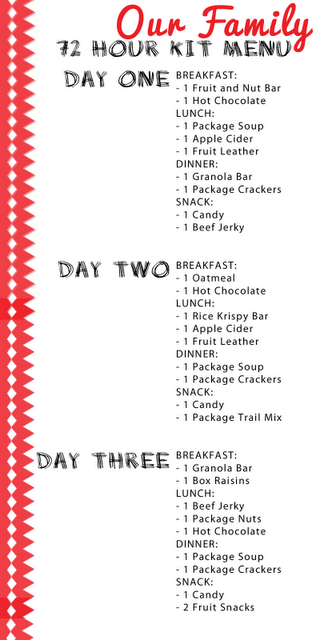 72 hour kit menu printable i ll add protein bars instead of cereal bars and cans of soup w pop top to use less water for meal prep