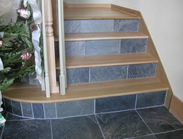 Best White Oak Stairway Treads Skirtboards With Slate Risers 400 x 300