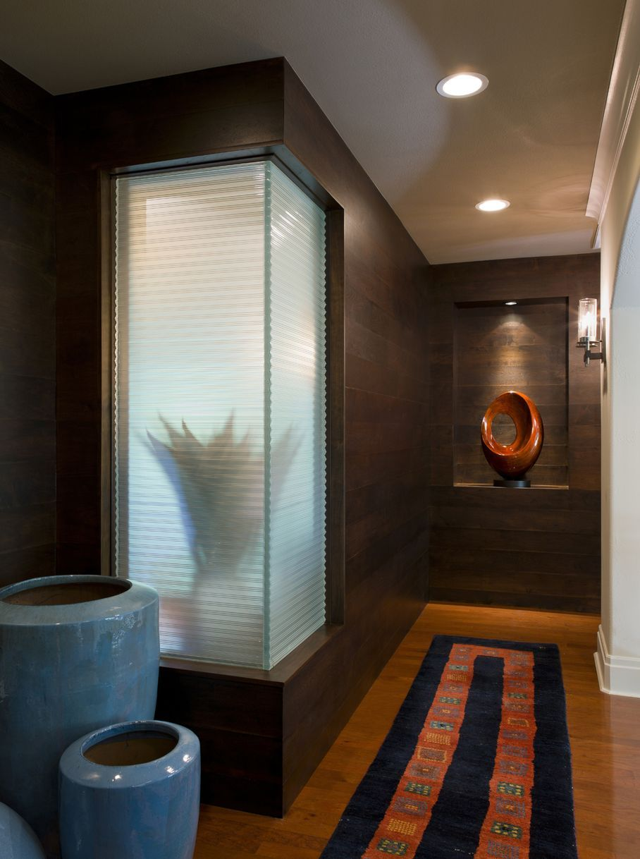 #Bathroom #renovation in #Austin feels like a spa. #modern #minimal #blue #orange #remodel