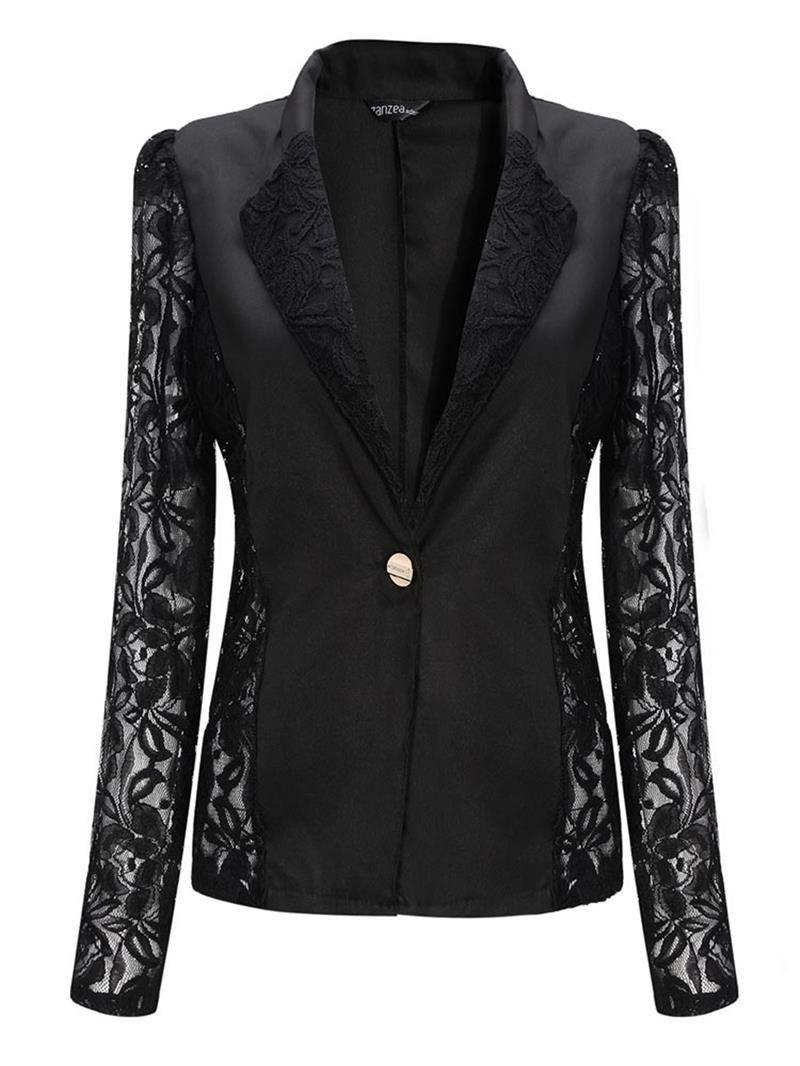 68fce9b4d9b NEW Fashion Sexy Sheer Lace Patchwork Blazer Coat Lady Suit Outwear Women  OL…