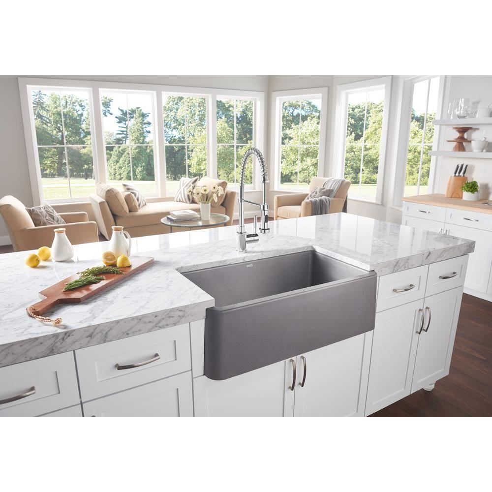 Blanco Ikon Farmhouse Apron Front Granite Composite 33 In Single