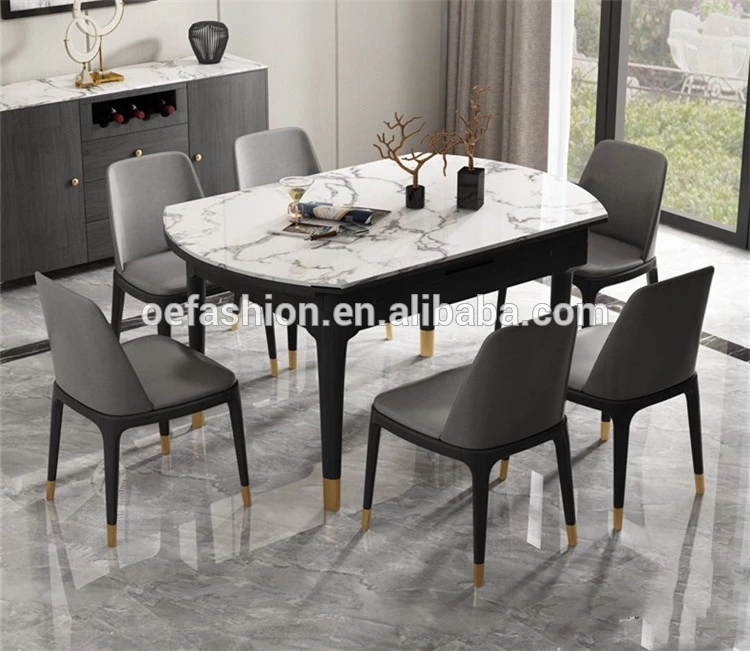 Oe Fashion Modern Marble Dining Table And Chair Set Retractable