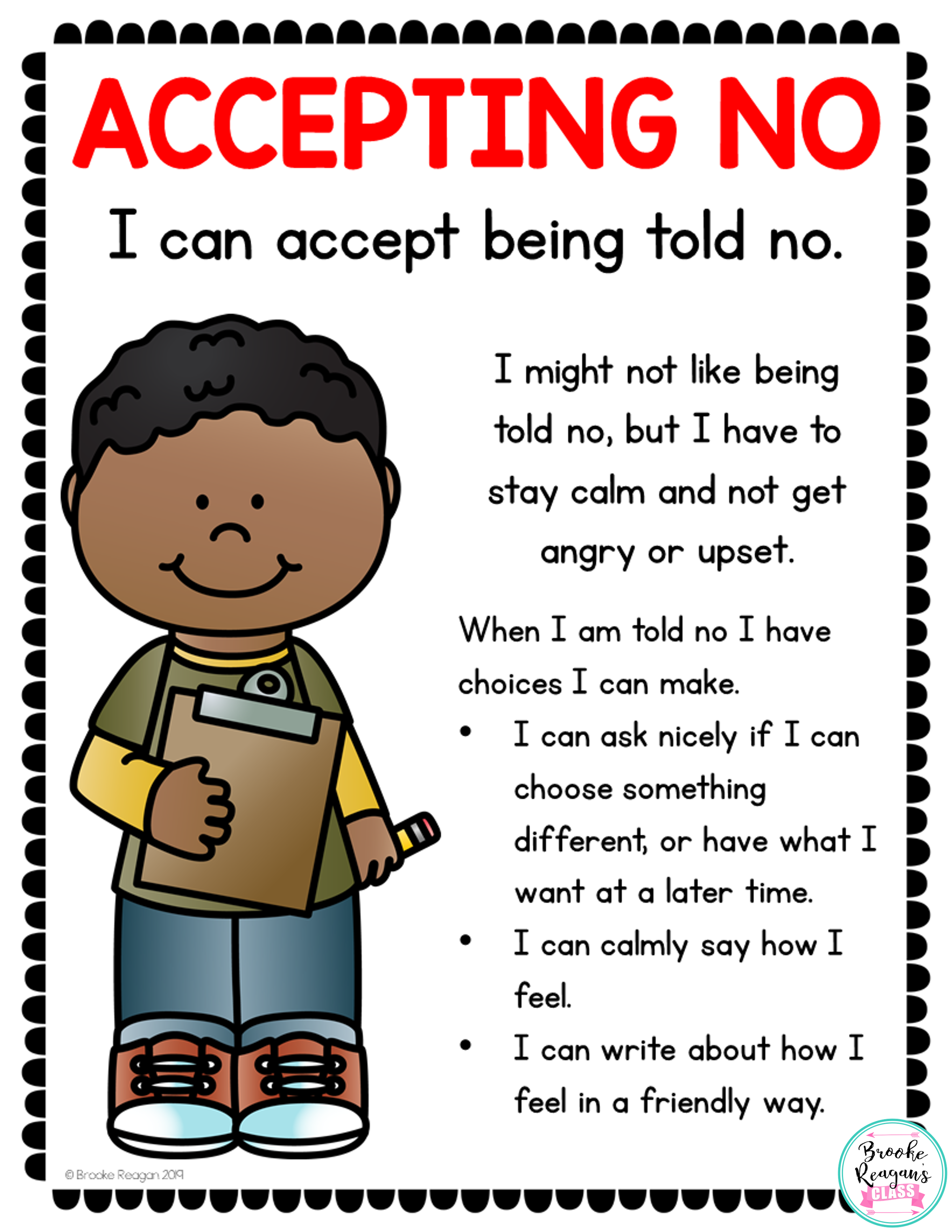 Social Skills Lesson Teaching Students About Accepting No