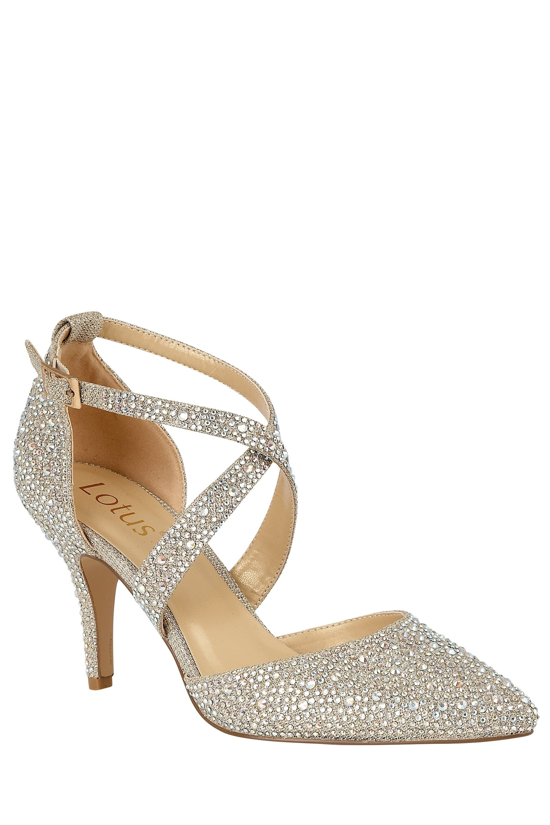 Womens Lotus Jewelled Heeled Shoes Gold | Shoes, Jewels