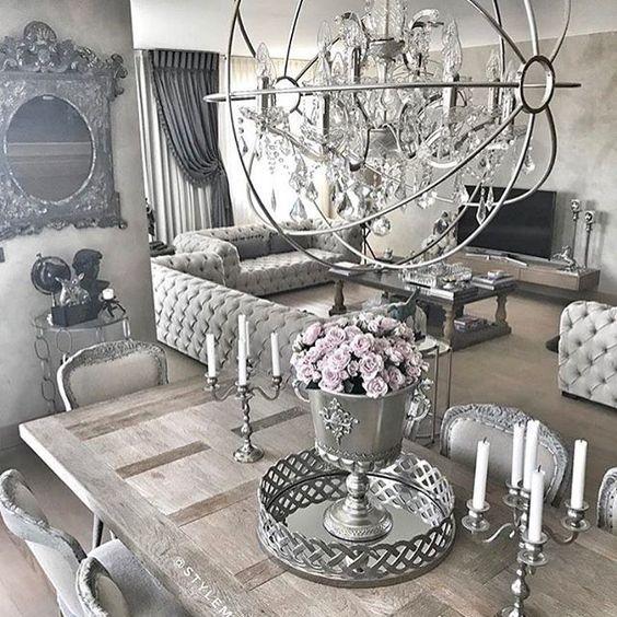 ᒪoᑌiᔕe Silver Living Room Home Decor Black And Silver